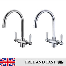 Classic Monobloc Kitchen Mixer Tap Twin Ceramic Lever Brushed Chrome