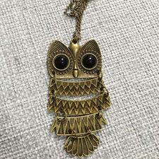 Vintage Rhinestone OWL Pendant Long Chain Necklace Jewellery Gift