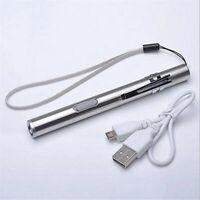 Mini Pocket Flashlight Stainless Steel LED Torch Light Pen USB Rechargeable