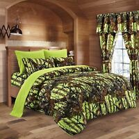 6 PC SHEETS PILLOWCASES LIME CAMO KING BEDDING SHEET PILLOW CASE CAMOUFLAGE NEON