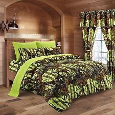 12 pc Lime Woods Camo King Size Comforter, sheets, pillowcases and curtains set