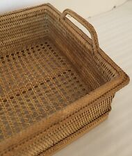 Hand Woven Rattan Serving/Storage/Display Rectangular Basket With Handles