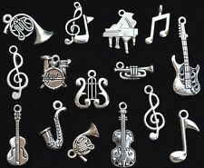 15pc Musical Instruments CHARM SET Antiqued Tibetan Silver, measure 8mm to 26mm