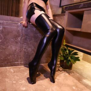 Women Black PU Leather Legging Stockings Wet look Club wear Thigh High Sock