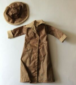 Attractive Beige & Brown Raincoat & Hat vintage doll clothes for fashion doll