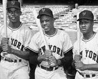 New York Giants WILLIE MAYS, MONTE IRVIN & HANK THOMPSON Glossy 8x10 Photo