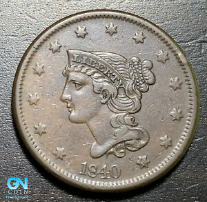 1840 Braided Hair Large Cent --  MAKE US AN OFFER!  #K4655