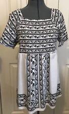 WOMAN WITHIN Black & White Embellished Short Sleeve Top ~ size M   NWOT