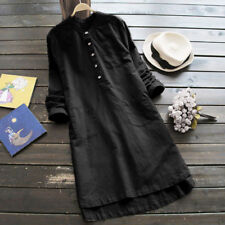 Lady Women Button Long Sleeve Loose Tops Blouse Casual T-Shirt Mini Shirt Dress
