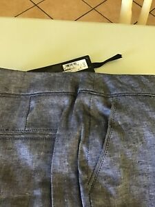 M&S Autograph Ladies 100% Linen Trousers Chambray Size 10/12 Long BNWT MRP £45