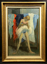 Colorful American 20th Century Oil Painting Ballerina by Moses Soyer 1899-1974