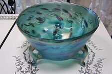 LG IGOR MULLER CZECH ART GLASS FOOTED BOWL ART NOUVEAU LUSTER AQUAMARINE PURPLE