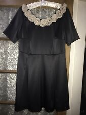 Fearne Cotton Black dress With Cream Flowers Size 12