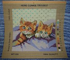 CHAT CHATON PUSSY Needlework Tapisserie Toile imprimée Here Comes Trouble Mignon facile
