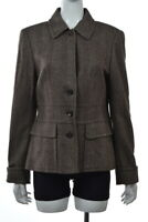 NEW Rene Lezard Womens Jacket Size 42 Brown Herringbone Long Sleeve Blazer Coat