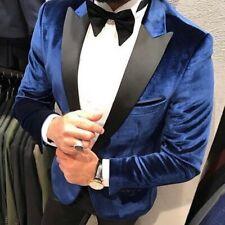 Designer Navy Velvet Suit Smoking Hochzeitanzug Suit Fitted Shirt Slim