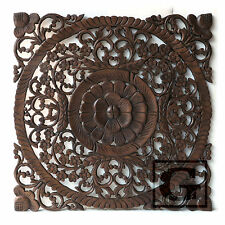 "23.5"" Lotus Flower Teak Wood Hand Carved Home Decor Wall Panel Art Mural 2 gtahy"
