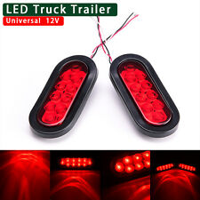 """Trailer Truck Lights LED Sealed RED 6"""" Oval Stop Turn Tail Marine Waterproof"""