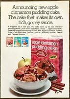 1970 Betty Crocker Apple Cinnamon Pudding Cake Mix PRINT AD Rich Gooey Sauce