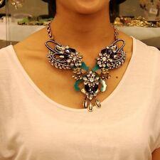 Collier Papillon Vert Goutte Mini Perle Retro Moderne Original Soirée LL