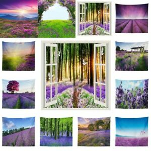 Lavender Scenery Tapestry Wall Hanging Psychedelic Tapestries Bedspread Decor