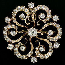 Antique 14K Yellow Gold 3.59ctw Old Mine Diamond Open Flower Pin Brooch Pendant