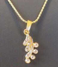 Chaîne pendentif collier bijoux couleur or discret élégant cristal diamant 3276