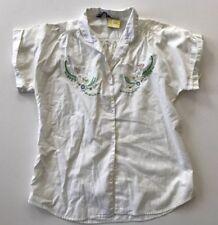 Vntg 70s San Francisco Shirt Works Coton Haut Brodé Petit Bouton Bas Court