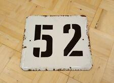 Vintage Soviet Porcelain Enamel Street Sign Number Plate № 52 PLAQUE USSR