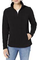 Amazon Essentials Women's Quarter-Zip Polar Fleece Pullover Jacket Black Med NWT