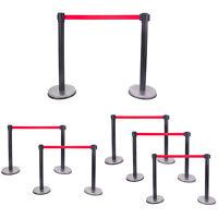 Black Stanchion Set Posts Queue Pole Retractable Red Belt Crowd Control Barrier