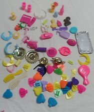 BARBIE DOLL ACCESSORY LOT Lotion Necklace Comb Dish Glass Plate Fork Tea Pot