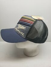 Miller High Life Blue Trucker Hat Rainbow Stripes Retro LBGTQ
