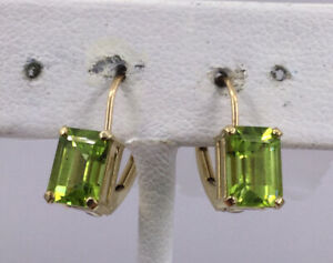 PERIDOT EARRINGS 10K GOLD LEAVER BACK PIERCED (J1140)