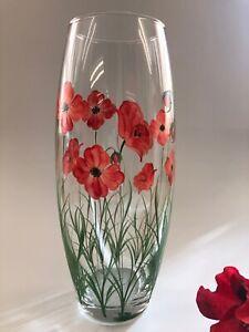 Individually Hand Painted Large barrel Poppy Vase