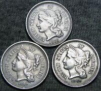 1865 +1866 +1869 Copper Nickel Three Cent Piece 3cp --- NICE LOT --- #C130