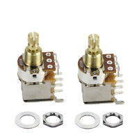 2x Copper Guitar Potentiometer Pot Switch A500K Audio Taper Control Short Shaft