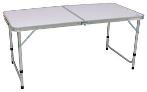 Andes 4ft Adjustable Folding Table Portable Outdoor Dining Camping Kitchen Top