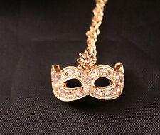 Alloy Masquerade Rhinestone Mask Pendant Necklace w/Free Jewelry Box and Ship