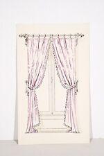 Petit pochoir déb. XX° Rideaux Fenêtre, Tissu drapé rose, Décoration