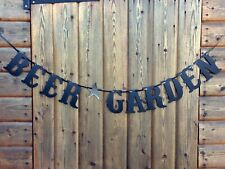 BEER GARDEN PARTY SIGN BIRTHDAY BUNTING COCKTAIL NIGHT BLACK AND SILVER