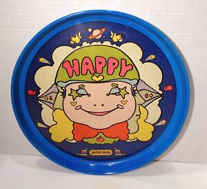 """Vintage 1971 Peter Max """"Happy"""" Face Tetley Tea 13"""" Tray!"""