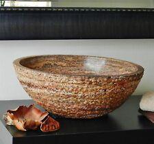 Chiseled Round Red Travertine Vessel Stone Sink Rustic Bathroom vanity basin