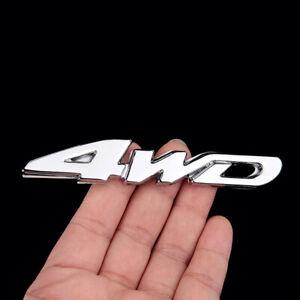 Silver 4WD Logo Chrome Metal Car Tailgate Emblem Sticker Badge Decal Accessories