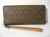 NEW Michael Kors Brown PVC MK Gold Jet Set Zip Around Travel Wallet Wristlet