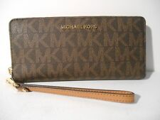 Michael Kors Brown PVC MK Jet Set Zip Around Travel Continental Wallet Wristlet