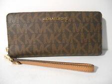 NEW Michael Kors Brown PVC MK Gold Jet Set Zip Around Travel Wallet Wristlet