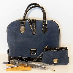 Dooney & Bourke Suede Zip Zip Satchel Purse Coin Wristlet Blue Leather Handbag