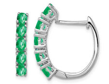 Natural Green Emerald Oval Hoop Earrings 1.65 Carat (ctw) in Sterling Silver