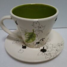 Starbucks Coffee Cup And Saucer Set Lime Green Leaf 10 oz Ceramic Mug 2007